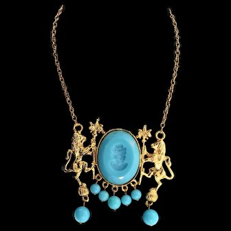 Vintage DONALD STANNARD-Like Lions Turquoise Reverse Carved Lucite Cameo Necklace
