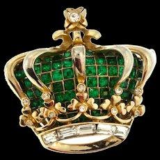 Vintage Katz CORO CRAFT Golden Jubilee Emerald Rhinestone Crown Figural Brooch Pin