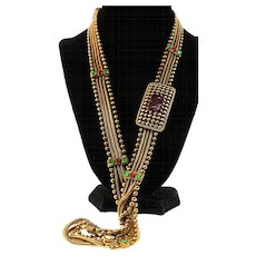 "Vintage CHANEL GRIPOIX Emerald Ruby Glass Multi-Chain 30"" Belt Necklace"