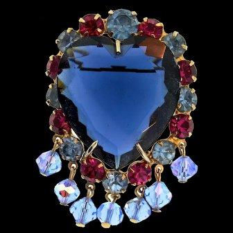 Vintage Sapphire Glass Heart Rhinestone Dangling Bead Brooch Pin