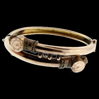 Antique SMALL Victorian Gold Filled Filigree & Etched Bypass Bangle Bracelet
