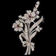 Vintage England Sterling Silver 925 Rhinestone Floral Flower Figural Pin Brooch