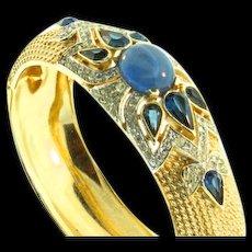 Vintage TRIFARI Jewels of India SAPPHIRE Rhinestone BRACELET Cuff