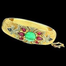 Vintage TRIFARI Jewels of India Flawed Emerald Cab Rhinestone Braceleet Cuff