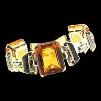 Vintage Philippe TRIFARI Sterling Deco Topaz Glass Chunky Rhinestone Tank BRACELET