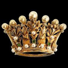 Vintage DEROSA Sterling Vermeil Fx Pearl Rhinestone Crown Figural Brooch Pin