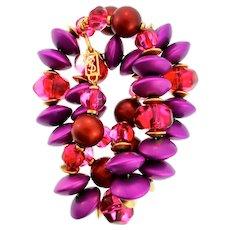 "Vintage Couture YVES SAINT LAURENT YSL Fuchsia Pink Purple Lucite Bead 28"" NECKLACE"