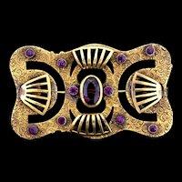 Gorgeous Vintage Art Nouveau Amethyst Rhinestone Sash Pin Brooch