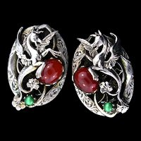 Vintage Mythical Winged Dragon Dimensional Silvertone Cabochon CLIP EARRINGS