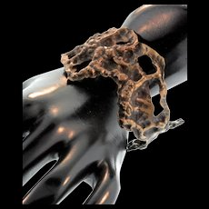 Vintage Mid-Century Studio Artisan Bronze Brutalist Freeform Bracelet CUFF