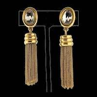 Vintage GIVENCHY Paris NY Crystal Goldtone Dangling Tassel Chain CLIP EARRINGS