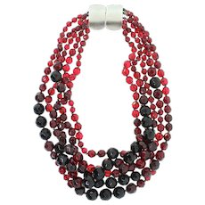 Vintage JAY FEINBERG Ombre Cranberry Red Faceted Glass Bead Multi-Strand NECKLACE