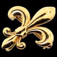 Antique Fine Estate Victorian 14K Gold Fleur De Lis Watch Lapel Pin