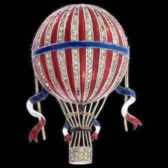 Rare TRIFARI Philippe Patriotic Hot Air Balloon Figural Enamel Pin Fur Clip