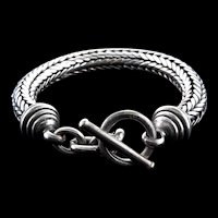 Vintage Unisex JOHN HARDY Style Heavy Sterling 925 Weaved Chain Toggle Clasp Bracelet 96g