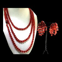 Vintage GERMANY 60 Inch Ruby Red Glass Bead Flapper Necklace & Waterfall Earrings