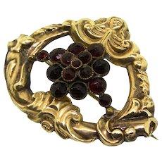 Victorian Bohemian Rose Cut Garnet Vermeil Sterling Angel Pin Pendant 9.6g