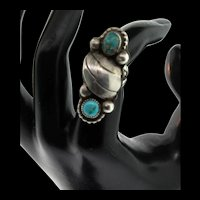 Vintage Native American Navajo Turquoise 1.5 Inch Long Raindrop Ring Size 5.5