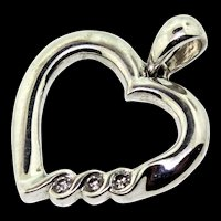 Estate 14K White Gold & Diamond OPEN HEART Pendant Charm 1.8g
