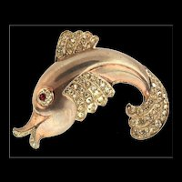 Rare Vintage Anthony Aquilino Sterling Rhinestone FISH Figural Brooch Pin