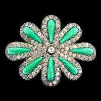 Vintage Victorian FNCO Fishel Nessler Art Glass Paste Sash Slide Buckle Pendant