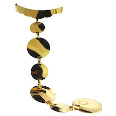 Vintage 1960s TRIFARI Modernist Mod SPACE-AGE Gold Disc Runway Necklace