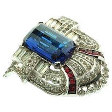 Vintage Art Deco MAZER Sapphire Prism Glass Ruby Invisibly Set Rhinestone DRESS CLIP Pin