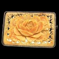 Antique JAPANESE Carved LOTUS FLOWER Framed Sterling Silver Brooch Pin