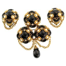 Vintage WEST GERMANY Black Glass Pearl Dangle Floral Pin & Clip Earrings Set