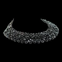 Vintage CLEOPATRA Faceted Black Glass Bead Collar Choker Necklace With Ornate Clasp