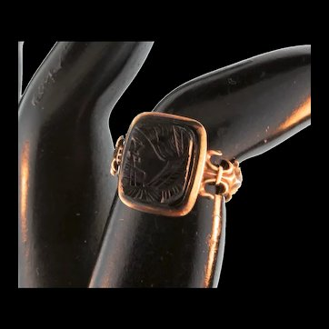 Antique Victorian 12K Gold Carved Black Onyx Lady Cameo Ring Size 5.5