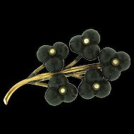 Antique Victorian 9K Gold Seed Pearl Molded Glass FLORAL Flower Mourning Pin