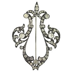 Antique Victorian FRENCH Fleur De Lis Sterling Paste Fully Hallmarked Brooch Pin