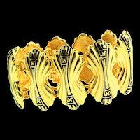 Vintage Couture FENDI Wide Logo Black Enamel Gold Plated Panel Link BRACELET
