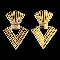 Vintage Huge CHRISTIAN DIOR  Modernist Chunky Dangle Goldtone Clip EARRINGS