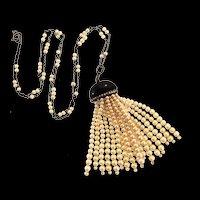 Vintage 1920s ART DECO Sterling Pearl Marcasite Tassel Long Flapper NECKLACE