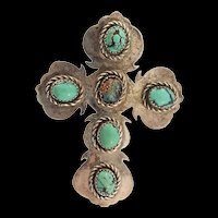Vintage Large Navajo Native American Sterling Silver Turquoise CROSS Pin Pendant