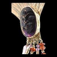 Vintage TABRA Sterling Carved Amethyst Face Garnet Bead Dangling PIN BROOCH