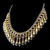 Vtg Crystal Dangling Bead Rhinestone Gold-Plated Festoon Bib Choker Necklace