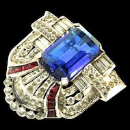 Deco Style MAZER Faceted Sapphire & Invisible Set Rubies Rhinestone DRESS CLIP Pin Brooch