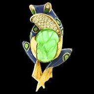 Vtg JOMAZ Flawed Emerald Cab Belly Enamel FROG Figural Rhinestone BROOCH PIN