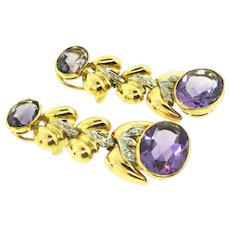 Vintage Amethyst Diamond 14K Yellow and White Gold Articulated Dangling 2 Inch CLIP EARRINGS