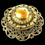 Vtg MASSIVE Dimensional AUSTRIA Givre Glass Filigree Goldplated Brooch Pin
