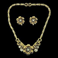 1939 Philippe TRIFARI Flower Figural Trembler Rhinestone NECKLACE & EARRINGS Set
