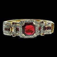 Wow MAZER Jomaz Ruby Red Glass Deco Style Rhinestone Triple Snake Chain BRACELET
