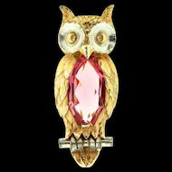 Vtg 1940s Large Pink Faceted Glass Belly Two-Tone OWL Figural FUR CLIP Brooch Pin