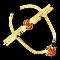 Vtg 1948 Philippe TRIFARI Tesselated Topaz Rhinestone Necklace & Bracelet Set