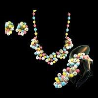 Vtg KRAMER OF NY Pastel Rhinestone Cluster Bead Huge Bracelet Necklace Earrings Set PARURE