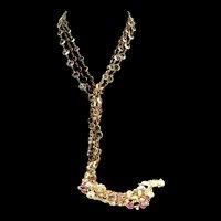 Vtg THREE 3 Swan SWAROVSKI Bezel Set Crystal Sautoir NECKLACES + One 1 Bracelet