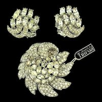 NOS Philippe TRIFARI Pave Rhinestone Flower Figural Brooch Pin & Earrings Set